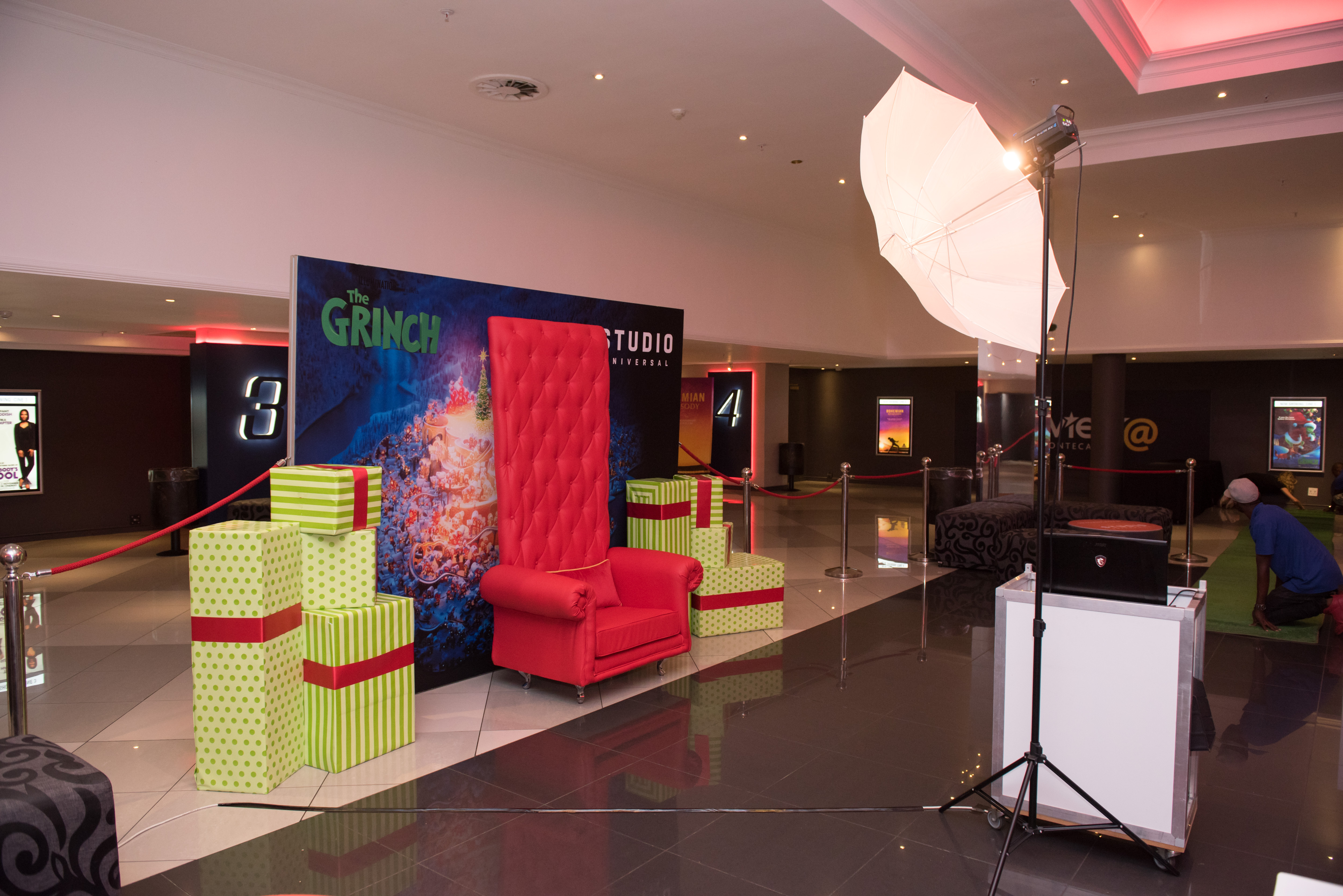 The Grinch movie screening set up at the cinema foyer