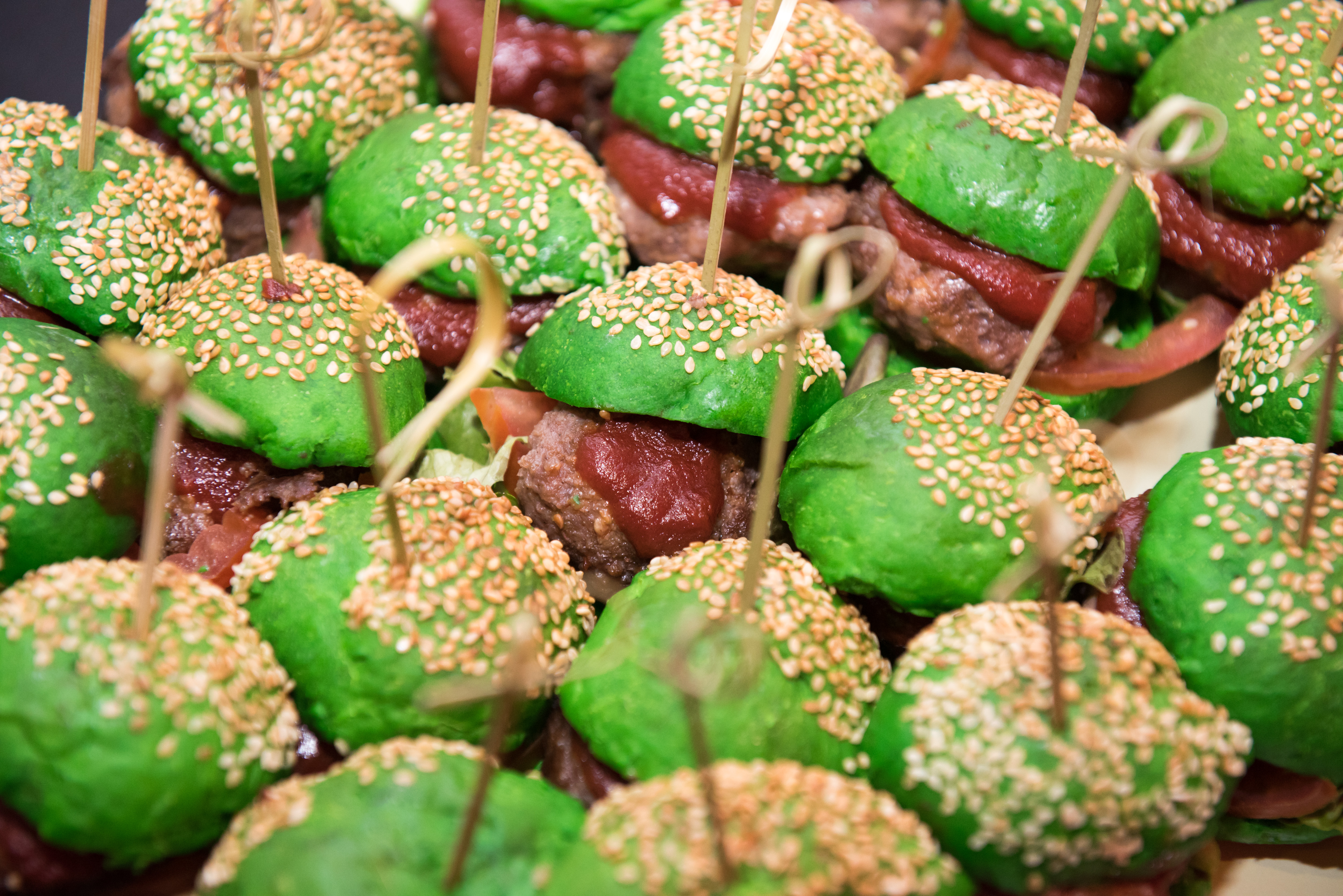 Green burgers for the Grinch movie theme screening