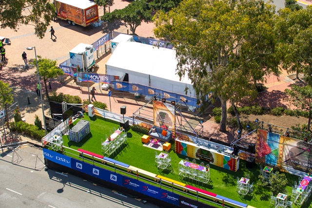 Bird's eye view of Multichoice's Hospitality Stand at the Cape Town Carnival 2019